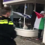 "NETHERLANDS: Arab Muslim savage carrying Palestinian flag and shouting ""Allahu Akbar"" smashes windows at Kosher restaurant in Amsterdam"