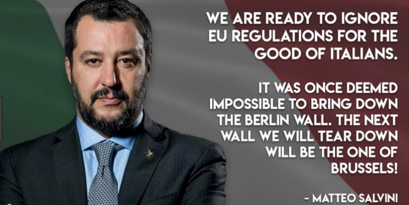 ITALY'S DEFIANT MATTEO SALVINI threatens the EU with closing the airports.