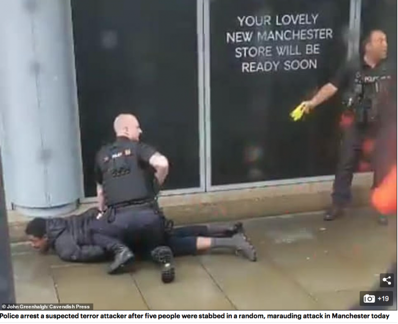 Hail the heroes! Brave officers praised for rushing into mayhem of Manchester's Arndale Centre as a knifeman 'lunged' at shoppers with a 12in blade in 'terror attack' stabbing five people Screen-Shot-2019-10-11-at-12.40.28-PM-800x652